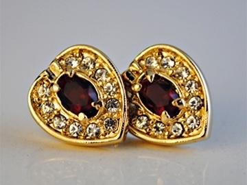 Buy Now: 50 -- Swarovski  Red & White Crystal Heart Earrings- 1.99 pr