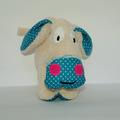 Vente au détail: Petit âne beige - turquoise et pois blancs