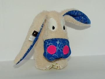 Sale retail: Petit âne beige - bleu et houx doré