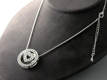 Liquidation/Wholesale Lot: 36- Circle of Love Rhinestone Necklace-- $2.75 pcs!