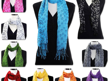 Buy Now: Brand New Lot of 50 Peace Sign Scarfs Assorted colors