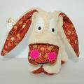 Vente au détail: Petit âne beige - marron et bulles - création originale