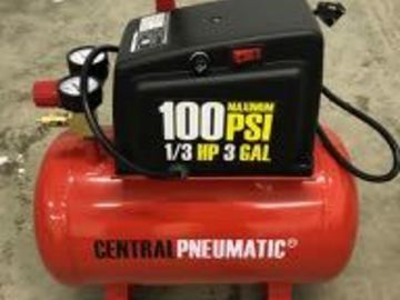 Renting out equipment (w/o operator): Air compressor, 1/3 HP, 3 Gallon, 100 PSA