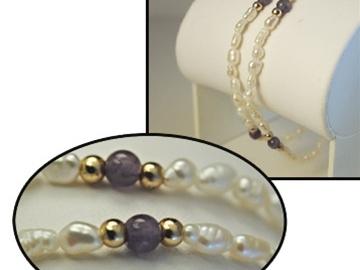Liquidation/Wholesale Lot: 50--Gen. Biwa Pearl w/Genuine Amethyst beads bracelet $ 1.49 ea