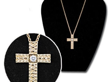 """Buy Now: 30 pcs-- Large Cross with Red CZ on 20"""" chain-- $3.25 pcs"""