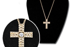 "Buy Now: 30 pcs-- Large Cross with Red CZ on 20"" chain-- $3.25 pcs"