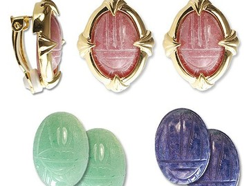 Buy Now: 33 sets-- Genuine Scarab Clip Earrings-Interchangeable- $2.99 set