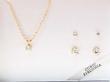 Buy Now: 50-- Boxes Cubic Zirconia Necklace w/2 pairs Earrings $2.50 set