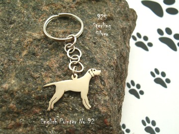Selling: Keyring English Pointer * 925 sterling silver