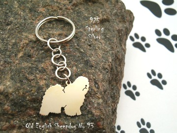 Selling: Keyring Old English Sheepdog Bobtail * 925 sterling silver