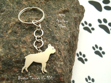 Selling: Keyring Boston Terrier * 925 sterling silver