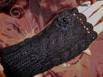 Sale retail: mitaines noires en laine/Mitaines femme au crochet/mitaines trico