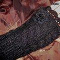 Vente au détail: mitaines noires en laine/Mitaines femme au crochet/mitaines trico