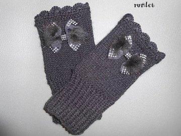 Sale retail: mitaine en laine, mitaines femme noire en laine au crochet