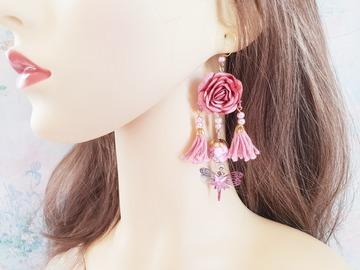 Sale retail: Boucles d'oreilles rose tulipe fleur pompon