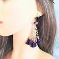 Vente au détail: Boucles d'oreilles  pompon violet