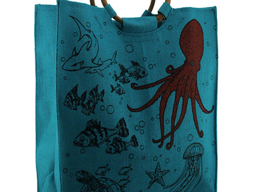 Buy Now: Aqua Blue Woven Jute Underwater Life Tote Bag