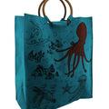 Buy Now: Aqua Blue Woven Jute Underwater Life Tote Bag