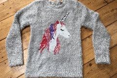 Selling with online payment: Fluffy unicorn jumper, age 9-10 Yrs