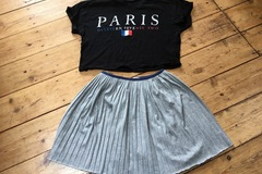 Selling with online payment: Silver skirt and crop T shirt, age 13 Yrs