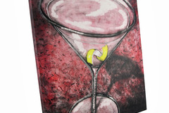 Buy Now: Pink Cosmopolitan Lemon Twist Cocktail Canvas Wall Art Lot of 15