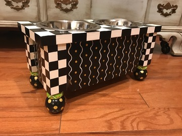 Selling: Dog Bowls Feeder Custom Built and Hand Painted Black White Checks
