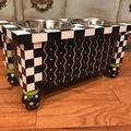Selling: Dog Bowls Feeder Custom Built and Hand Painted Black White Checks