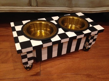Selling: Whimsical Painted Dog Feeder in Black & White Checked