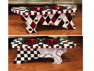 Selling: Alice in Wonderland Dog Bowl Stand Feeding Station Elevated Feede