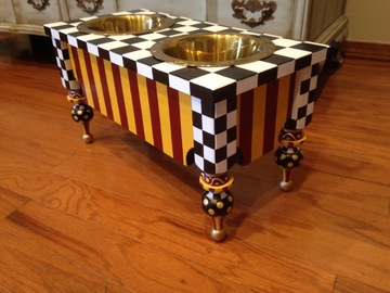 "Selling: Whimsical 10"" Raised Dog Feeder Black & White Check Elevated"