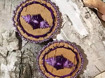 Selling: Circle Earrings with Purple Motif and Trim.