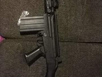 Selling: 6mm pro shop fal with key mod handgaurd and aim scout scope