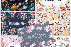 Buy Now: 25 BOXES x 42 Thank You Cards in Bulk - Floral Greeting Cards Set