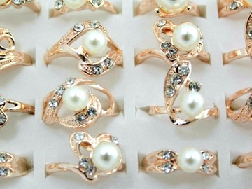 Buy Now: (300) Simulated Pearl Rings Women's Fashion Jewelry
