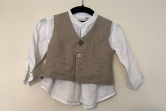 Selling with online payment: Monsoon cotton shirt and waistcoat, age 12-18 Mths