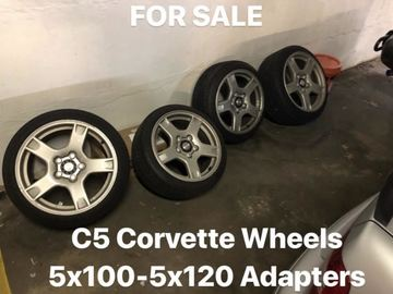 Selling: C5 Corvette Wheels w/ Tires & 5x100 to 5x120 Adapters