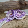 Vente au détail: Bracelet Deux Fleurs  Multicolores Violettes