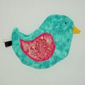 Vente au détail: Bouillotte sèche - Oiseau vert d'eau en fleurs