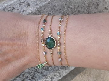 Vente au détail: Bracelet femme vert émeraude