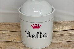 Selling: Personalized Dog Treat Jar and Canister with Name and Crown