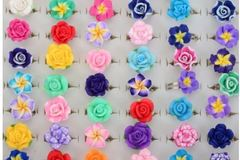 Buy Now: Adjustable colorful poly clay flower rings 300 pcs.