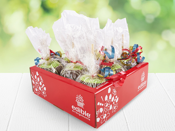 Request To Book & Pay In-Person (hourly/per party package pricing): Chocolate Caramel Apple Party Bundle by Edible Arrangements