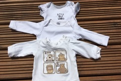 Selling with online payment: White top and vests, age 0-3 months