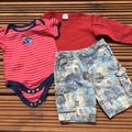 Selling with online payment: Red tops camo shorts, age 9-12 months