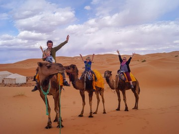 Offering with online payment: Sunset Camel Ride in Sahara Merzouga Desert Erg Chebbi Dunes
