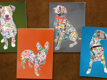 Pack of 4 Dog Bullmastiff Puppy Dogs Stationery Greeting Notecards Envelopes