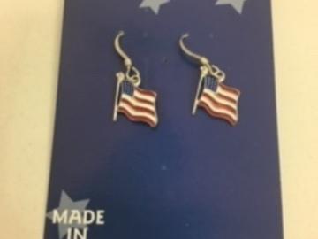Buy Now: 50 prs-- Genuine Sterling Silver Flag Earrings  $1.99 pair