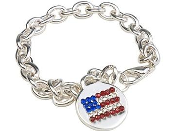Liquidation Lot: 50 pcs  Rhinestone Flag Bracelets  $1.99 pcs!