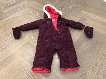 Selling with online payment: Girls polka dot thermal suit with gloves, age 12-18 Mths