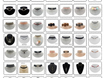 Liquidation Lot: 600 choker/necklace Liquidation Wholesale. 50 Designs. One dozen